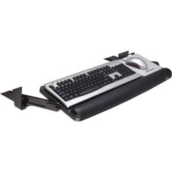 3M™ Underdesk Adjustable Keyboard Drawer With Leatherette Wrist Rest, Black