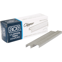 "Ace Undulated Clipper Staples, 1/4"", Box Of 5000"