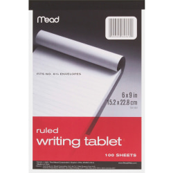 """Mead Ruled Writing Tablet - 100 Sheets - Ruled - 20 lb Basis Weight - 6"""" x 9"""" - White Paper - 1Each"""