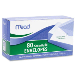 "Mead White Security Envelopes - Security - #6 3/4 - 6 1/2"" Width x 3 5/8"" Length - 20 lb - Gummed - Wove - 80 / Box - White"