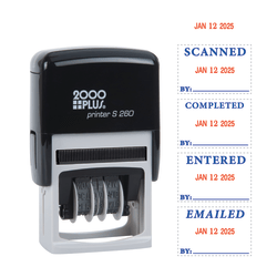 "2000 PLUS® Date Message Dater Stamp Entered, Scanned, Emailed, Received  Stamp, 4-in-1 Date Message Dater Self-Inking Stamp, 15/16"" x  1-3/4"" Impression, Blue and Red Ink"