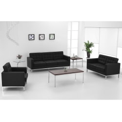 Flash Furniture Hercules Lacey Contemporary Bonded LeatherSoft™ Loveseat, Black/Stainless Steel