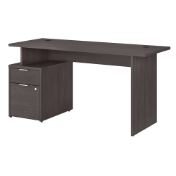 """Bush Business Furniture Jamestown Desk With 2 Drawers, 60""""W, Storm Gray, Standard Delivery"""