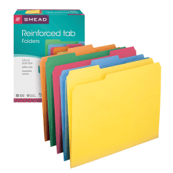 Smead® Color File Folders, With Reinforced Tabs, Letter Size, 1/3 Cut, Assorted Colors, Box Of 100
