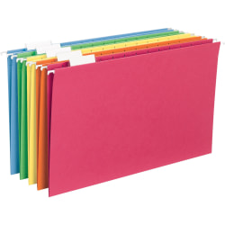 Smead® Hanging File Folders, Legal Size, Assorted Bright Colors, Pack Of 25 Folders