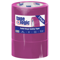 """BOX Packaging Solid Vinyl Safety Tape, 3"""" Core, 2"""" x 36 Yd., Purple, Case Of 3"""