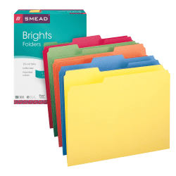 Smead® Color File Folders, Letter Size, 1/3 Cut, Brights, Box Of 100