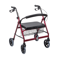 "DMI® Adjustable Steel Bariatric Rollator With Seat, 34 3/4"" x 28 1/2"", Burgundy"