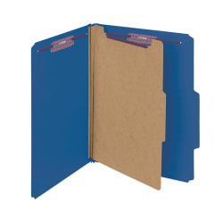 """Smead® Classification Folders, Pressboard With SafeSHIELD® Fasteners, 1 Divider, 2"""" Expansion, Letter Size, 50% Recycled, Dark Blue, Box Of 10"""