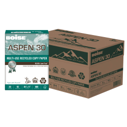 "Boise® ASPEN® 30 Multi-Use Paper, Letter Size (8 1/2"" x 11""), 20 Lb, 30% Recycled, FSC® Certified, Ream Of 500 Sheets, Case Of 10 Reams"