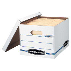 """Bankers Box® Stor/File™ Boxes With Lift-Off Lids, Letter/Legal Size, 12 1/2"""" x 16 5/16"""" x 10 1/2"""", White"""