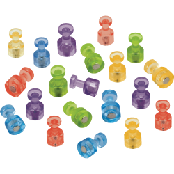 "Quartet® Assorted Colors Magnetic Pushpins, 1 1/2"" Diameter, Assorted Colors, Pack Of 20"