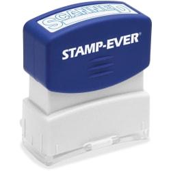 "Stamp-Ever SCANNED Pre-inked Stamp - Message Stamp - ""SCANNED"" - 1.81"" Impression Width x 0.63"" Impression Length - 50000 Impression(s) - Blue - 1 Each"