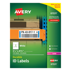 "Avery® Durable ID Labels With TrueBlock® Technology, 61531, 3 1/4"" x 8 3/8"", White, Pack Of 150"