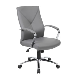 Boss Office Products High-Back Chair, Gray/Chrome/Gray