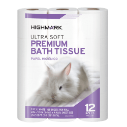 Highmark® Ultra Soft® 2-Ply Toilet Paper, 165 Sheets Per Roll, Pack Of 12 Rolls