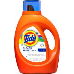 Tide Plus Bleach Lndry Detergent - Liquid - 92 oz (5.75 lb) - Original Scent - 4 / Carton - Orange