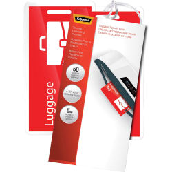 "Fellowes Luggage Tag With Loop Pouches, Glossy, 2.50"" x 4.25"", 5 mil Thick, Clear, Pack Of 50"