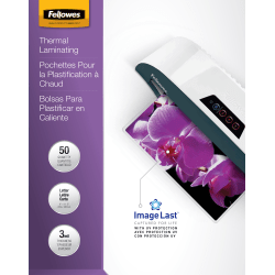 "Fellowes® ImageLast Laminating Pouches, UV Protection, 9"" x 11 1/2"", 3 Mil, Glossy, Pack Of 50"