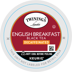 Twinings® English Breakfast Tea Single-Serve K-Cups®, Decaffeinated, 0.11 Oz, Box Of 24