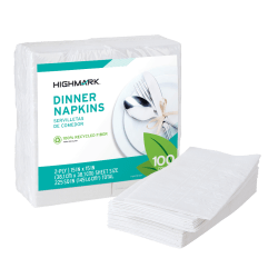 "Highmark® 2-Ply Dinner Napkins, 15"" x 15"", 100% Recycled, White, Pack Of 100"