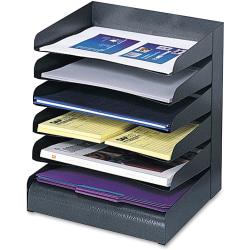 "Safco® Steel Desk Tray Sorter, 6 Shelf, 13 1/4""H x 12""W x 9 1/2""D, Black"