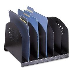 """Safco Steel Desk Racks - 6 Compartment(s) - 2"""" - 8"""" Height x 12.1"""" Width x 11.1"""" Depth - Desktop - Black - Steel - 1 Each"""