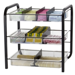Officemate® OIC® Giant Condiment Organizer, 3 Trays, 9 Compartments, Clear/Black