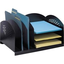 """Safco 3 & 3 Combination Rack Desktop Organizers - 6 Compartment(s) - 3 Divider(s) - 3 Tier(s) - 8.3"""" Height x 16.3"""" Width x 11.3"""" Depth - Desktop - Black - Steel - 1 Each"""
