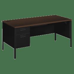HON® Metro Classic Left Pedestal Desk, Mocha/Black