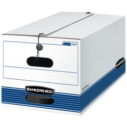 """Bankers Box® Stor/File™ Stringed Medium-Duty Storage Boxes, Letter Size, 10"""" x 12"""" x 24"""", White/Blue, Case Of 20"""