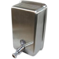 Genuine Joe Stainless Vertical Soap Dispenser - Manual - 1.25 quart Capacity - Stainless Steel - 1Each