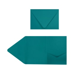 "LUX Pocket Invitations, A7, 5"" x 7"", Teal, Pack Of 50"