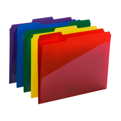 Smead® Poly Folders With Slash Pocket, Letter Size, Assorted Colors, Pack Of 30