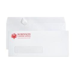 "Custom #10, 1-Color, Peel & Seal, Single Window  Business Envelopes, 4-1/8"" x 9-1/2"", White Wove, Box Of 500"