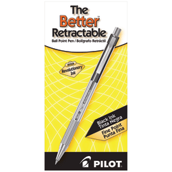 Pilot® Better™ Retractable Ballpoint Pens, Fine Point, 0.7 mm, Translucent Black Barrel, Black Ink, Pack Of 12