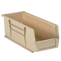 """Office Depot® Brand Plastic Stack & Hang Bin Boxes, Small Size, 10 7/8"""" x 4 1/8"""" x 4"""", Ivory, Pack Of 12"""