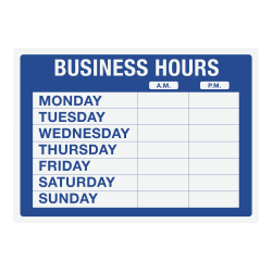 """Cosco® Static Cling """"Business Hours"""" Sign Kit, 10"""" x 14"""", Blue"""