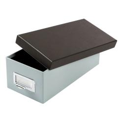 """Oxford® Index Card Storage Box, 3"""" x 5"""", Blue Fog/Black"""