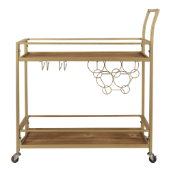 "FirsTime & Co. Francesca Bar Cart, 32-1/4""H x 30""W x 13""D, Gold"