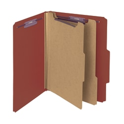 """Smead® Pressboard Classification Folders, 2 Dividers, 2"""" Expansion, 2/5 Cut, Letter Size, 100% Recycled, Red, Pack Of 10"""