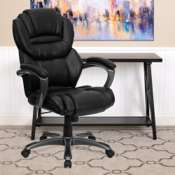 Flash Furniture Bonded LeatherSoft™ High-Back Chair, Black/Titanium