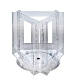 "Azar Displays Revolving Brochure Holder, 3-Pocket, Acrylic, 11""H x 13""W x 6""D, Clear"