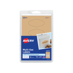 """Avery® Removable Multi-Use Labels, 40151, Oval, 1-1/8"""" x 2-1/4"""", Kraft Brown, Pack Of 24"""