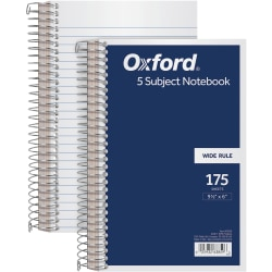 """TOPS 5 Subject Wirebound Notebook - 175 Sheets - Coilock - 15 lb Basis Weight - 6"""" x 9 1/2"""" - White Paper - Navy Cover - Acid-free, Unpunched, Divider - 1 / Each"""
