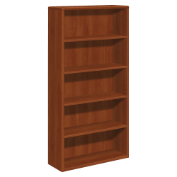 HON® 10700 Series Laminate Bookcase, 5 Shelves, Cognac
