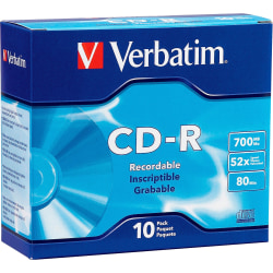 Verbatim AZO CD-R 700MB 52X DataLifePlus with Branded Surface - 10pk Slim Case - 120mm - 1.33 Hour Maximum Recording Time
