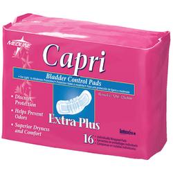 "Capri Bladder Control Pads, Extra Plus, 3"" x 10 1/2"", White, 16 Pads Per Bag, Case Of 9 Bags"