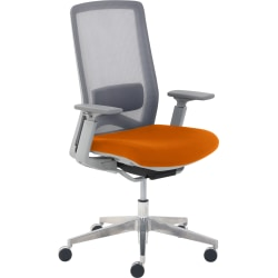 True Commercial Melbourne Mesh/Fabric Mid-Back Chair, Orange/Off-White
