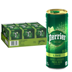 Perrier® Sparkling Natural Mineral Water with Lime Flavor, 8.45 Oz, Case Of 30 Slim Cans
